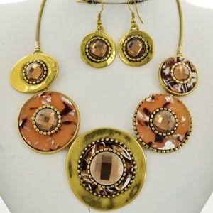 Topaz Glass Peach Brass Statement Necklace Set